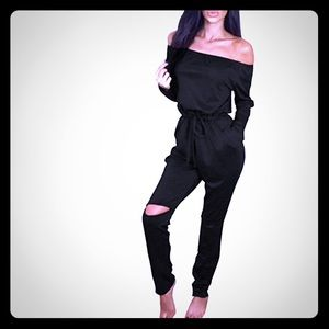 Pants - ♠️0ff-shoulder jumpsuit romper with knee cut out